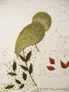 2 of 2 Love the little fly stitch filling. Tracy A Franklin - specialist embroiderer: shading using one strand of crewel wool and stem stitch for the leaves