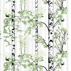 cotton Designed by Riina Kuikka for Vallila Black and white birch trees with leaves in various shades of green with gray reach toward the sky. We have 1 piece, Free domestic shipping on this item No Sew Curtains, Rod Pocket Curtains, White Birch Trees, Line Flower, Tree Forest, Marimekko, Shades Of Green, Slipcovers, Painting Prints