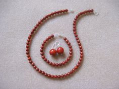 Red sponge coral and 925 sterling silver jewelry set