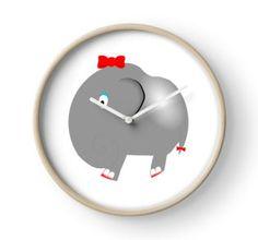 Cute Funny Cartoon Silly Elephant Girl Character Doodle Animal Drawing  wall clock - home decor ideas #kids children room nursery design