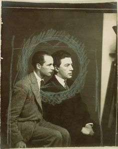 "Man Ray Louis Aragon and André Breton, Paris 1929 ""It sometimes happens that pleasure blows anywhere it damn well chooses."" Louis Aragon, ""Irene's Cunt"" 1928 ""I am the soul in limbo. Man Ray Photographie, Louis Aragon, 7 Arts, Art Moderne, Photomontage, Pablo Picasso, American Artists, Art World, Black And White Photography"