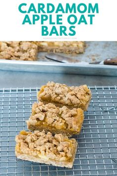 Cardamom apple oatmeal bars are easy to make with just handful of ingredients. These apple bars are sugar-free and gluten-free - delicious enough for dessert and healthy enough to have for breakfast! #cardamom #oatbars #applerecipe #ontarioapples #healthybreakfast Apple Bars, Oat Bars, Oatmeal Bars, Gluten Free Recipes For Breakfast, Snack Recipes, Apple Health Benefits, Make Simple Syrup, Apple Oatmeal, Healthy Snacks