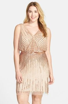 Adrianna Papell Beaded Sleeveless Cocktail Dress (Plus Size)