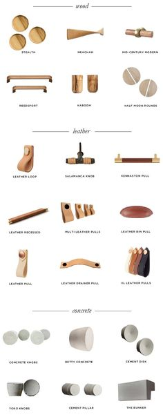 best wood, brass, leather, concrete cabinet pulls knobs