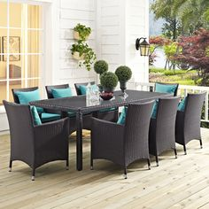 Modway Furniture Convene 9 Espresso/Turquoise 9 piece outside / patio table and chairs set Gather stages of sensitivity Outdoor Dining Set, Outdoor Furniture Sets, Outdoor Decor, Outdoor Living, Furniture Ideas, Backyard Furniture, Outdoor Fire, Metal Furniture, Furniture Stores