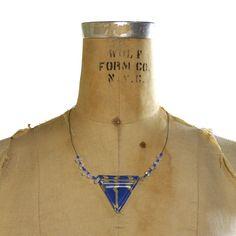 80s Geometric Glass Necklace / Avant Garde / Handmade $39.00