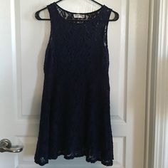 """Free People Navy Lace Mini Dress Size S Navy lace mini dress. Length is 30"""" from shoulder to hem. Does not include a slip. Gently worn. Price reflects wear. Last picture shows how the dress looks on. No trades or Paypal. Free People Dresses Mini"""
