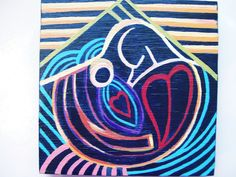 """Painting, Acrylic on Wood """"A Mother's Bond"""". $15.00, via Etsy."""