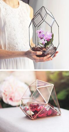 Handmade Geometric Terrariums by Waen http://www.theperfectpalette.com/2015/09/60-wedding-finds-from-etsy-artists-we.html