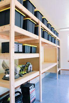 DIY Garage Shelves — Modern Builds The Ultimate Garage Storage / W. DIY Garage Shelves — Modern Builds The Ultimate Garage Storage / Workbench Solution. Garage Storage Shelves, Loft Storage, Garage Shelf, Garage Organization, Garage Gym, Organization Ideas, Storage Ideas, Garage Shelving Plans, Shelving Ideas
