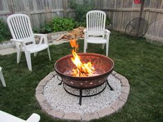 simple use the brazier we have and just pebble under it so it won't kill the grass! Fire Pit Uses, Diy Fire Pit, Fire Pit Backyard, Fire Pit On Grass, Fire Pit Gravel, Above Ground Fire Pit, Build Outdoor Fireplace, Backyard Patio Designs, Backyard Ideas