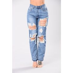 Ryan Boyfriend Jeans Medium ($40) ❤ liked on Polyvore featuring jeans, skinny jeans, high waisted ripped jeans, distressed boyfriend jeans, distressed skinny jeans and ripped boyfriend jeans