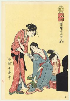 Hour of the Horse (12 Noon), by Kitagawa Utamaro, oban reprint from the studio of Hashiguchi Goyo