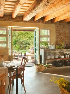 Rustic and sunny kitchen. Everything about this picture is perfect......