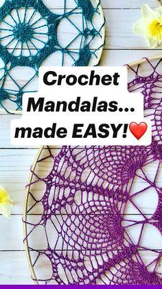 Scrap Yarn Crochet, Crochet Thread Size 10, Crochet Baby Hats, Crochet Gifts, Cute Crochet, Crochet Doilies, Knit Crochet, Crochet Mandala Pattern, Crochet Flower Patterns
