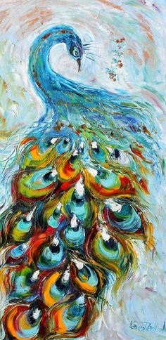 Original oil painting Sexy Peacock Dance palette by Karensfineart