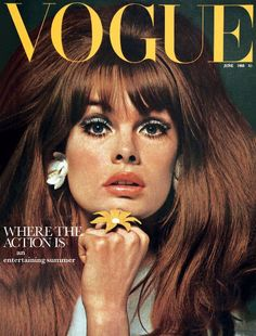 Model Jean Shrimpton on cover of Vogue in the 60's.  She was on the covers of nearly every fashion magazine all the time!