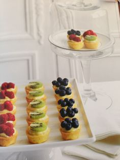 Cute, I like the idea of just one kiwi fruit per tart. The blueberries might run though.
