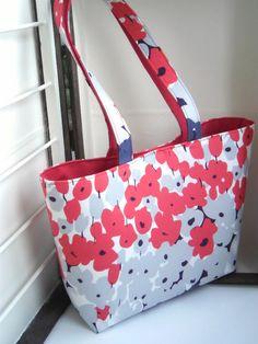 Sac à main cabas moyen en coton imprimé à fleurs de la sauterelle ébouriffée sur DaWanda.com