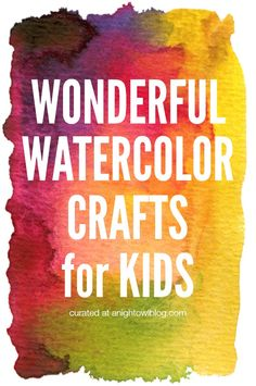 Looking for activities to tap into your kid's creativity? Try out these Wonderful Watercolor Crafts for Kids! Preschool Art, Craft Activities For Kids, Projects For Kids, Craft Ideas, Art Projects, Therapy Activities, Science Activities, Classroom Activities, Toddler Activities