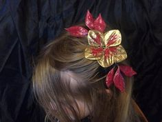 Red and Gold Flower Fascinator by RiverwalkRevisions on Etsy