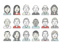 Dropbox Avatars by Ryan Putnam. The variety in hair texture is fantastic. [gif on clickthrough]