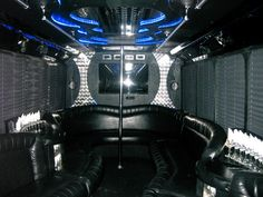 26 Passenger Limo Bus White - Interior