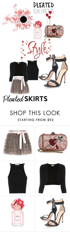 """PLEATED SKIRTS"" by mandimwpink ❤ liked on Polyvore featuring RED Valentino, Gucci, Michael Kors, Marc Jacobs and Gianvito Rossi"