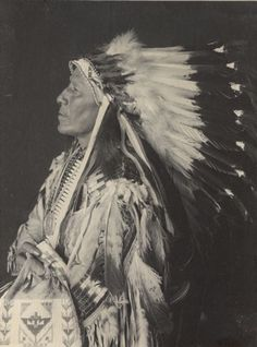 1905 Studio portrait of Chief of Loafer Band, Tasemke-Tokeco, called Paul Strange Horse, in native dress with peace medal, headdress, breastplate and holding bag. Part of Siouan (Sioux) and Brule Tribe.