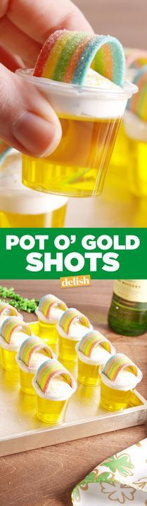 Pot of Gold Shots will have you feeling SO lucky. Get the recipe from Delish.com.