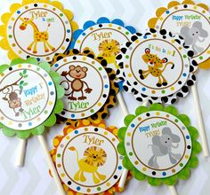 Jungle, safari,  Cupcake Toppers - Set of 12 Personalized Birthday Party Decorations, Dino