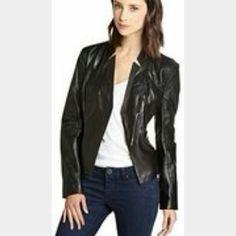 Laundry By Shelli Segal Genuine Leather Jacket Great condition. Size Large. Moto jacket. Laundry by Shelli Segal Jackets & Coats