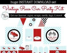 Vintage Race Car Birthday Party, Race Car Baby Shower Decorations, Race Car Birthday Decorations, Race Car Party Decorations, Boy Birthday