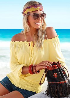 Yellow Off the shoulder top from VENUS. Available in sizes XS-L!