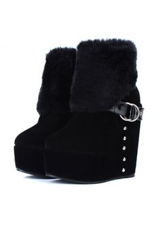Noble Animal Fur Decoration Wedge Suede Black Ankle Boots on sale only US$20.20 now, buy cheap Noble Animal Fur Decoration Wedge Suede Black Ankle Boots at martofchina.com