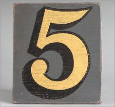 Hand-painted grey wooden number sign: 5