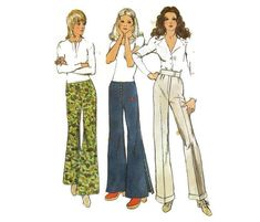 1970s High Waisted Pants Hip Huggers Flares Pattern Simplicity 9820 Sz 14 H38 70s Fashion, Vintage Fashion, Wrap Around Dress, Farrah Fawcett, Sewing Material, Simplicity Patterns, Glam Rock, Cool Boots, Female Form
