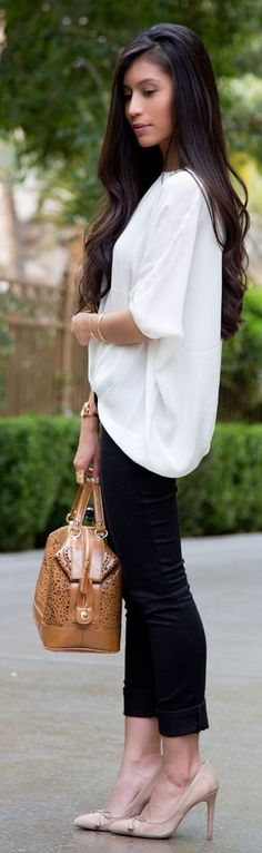 Michael Stars White Silk Blouse With Pleated Hem by Stylishly Me