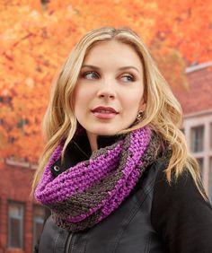 Herringbone Chevron Cowl - free crochet pattern by Katy Petersen for Red Heart.