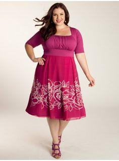 Plus Size Dress Plus Size Fashion Plus Size Clothing at www.curvaliciousclothes.com The Jocelyn Dress swings and sways in an A-line silhouette and abstract floral print. Its set-in sleeves at the elbow and figure forming waistband will have you feeling confident and classy. Finish the look with neutral heels and light pink gems.