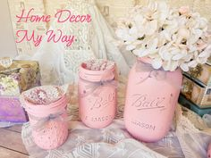 3 Piece Pink Mason Jar Set/Desk by HomeDecorMyWay on Etsy