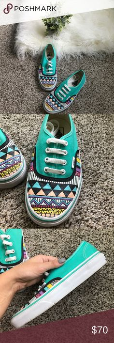 Vans - tribal painted custom teal  - size 6.5 Tribal painted custom teal Vans - size 6.5 - custom made on Etsy - only worn a couple of times - very good used condition Vans Shoes Sneakers