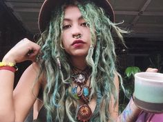 This is my bf as a girl Dreadlock Hairstyles, Messy Hairstyles, Hair Inspo, Hair Inspiration, Mundo Hippie, Dreadlocks Girl, Dreadlock Accessories, Beautiful Dreadlocks, Hair Again