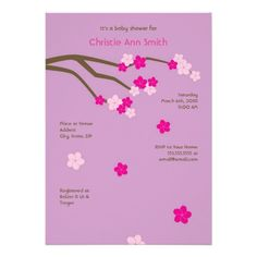 Modern Cherry Blossoms Baby Shower Invitation Lave