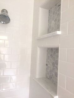 White subway tile in master shower Master Bathroom Reveal: dual shower cubbies Upstairs Bathrooms, Basement Bathroom, Small Bathrooms, Tile For Small Bathroom, White Bathrooms, Master Bathrooms, Gray And White Bathroom Ideas, Shiplap Master Bathroom, Small Master Bath