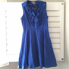 Royal blue dress Zips on the side. Little ruffle button up Charlotte Russe Dresses