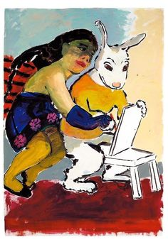 """Paula Rego (Portuguese/British, b. The Drawing Lesson, Acrylic on paper, 100 x 70 cm. Painting Collage, Figure Painting, Drawing Lessons, Life Drawing, Paula Rego Art, Gouache, Learn Brazilian Portuguese, Portuguese Lessons, Female Painters"