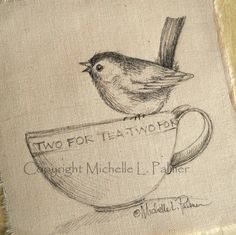 Little Wren wants to have Tea original pen ink illustration on fabric Quilt Label by Michelle Palmer