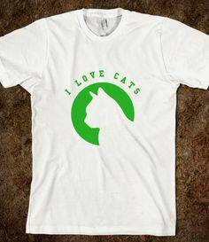 I Love Cats Green