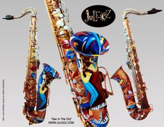 Painted Saxophone Painted Musical Sculpture by JuleezGallery #music #saxophone